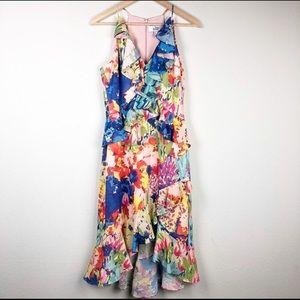 Belle Badgley Mischa Faith Printed Ruffle Dress